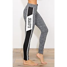 Love Athletic Striped Performance Leggings ($23) ❤ liked on Polyvore featuring activewear, activewear pants and grey combo