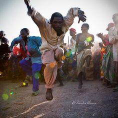 A Twa (Pygmy) man in an ecstatic dance, Bubanza Province, central Burundi.
