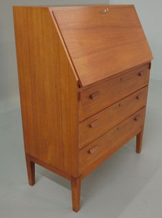 Borge Mogensen Danish Modern Teak Secretary Desk from vintagedanishmodern on Ruby Lane