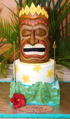Sculpted tiki head cake. I made this cake for my brother's birthday.