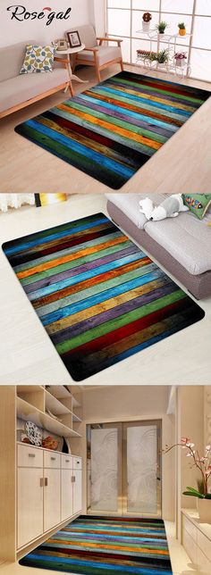 Free shipping worldwide.Home decor.Colorful Stripe Coral Velvet Large Area Rug.#homedecor #bathroom
