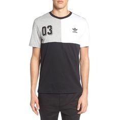 Men's Adidas Originals Panel Graphic T-Shirt ($35) ❤ liked on Polyvore featuring men's fashion, men's clothing, men's shirts, men's t-shirts, black, mens t shirts, mens panel shirts, mens jersey t shirt, mens graphic t shirts and mens jersey shirts