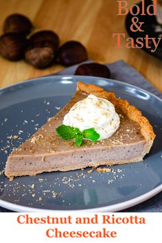 A recipe for chestnut and ricotta cheesecake served with whipped cream and grated chestnuts, a great late autumn or early winter dessert. #autumn #winter #dessert #recipe #chestnuts #ricotta #cheesecake #foodblog #food #boldandtasty Ricotta Cheesecake, Cheesecake Desserts, Late Autumn, Winter Desserts, Vegetarian Cheese, Whipped Cream, Food And Drink, Tasty, Recipes