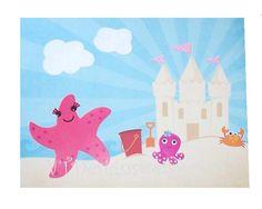 Kids Wall Art, Children's Room Art, Baby Girl, Starfish, Crab, Beach, Building Sandcastles, 8x10 Art Print. $14.00, via Etsy.