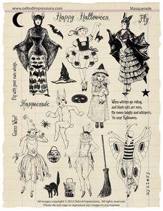 Masquerade Rubber Stamp Collection  Halloween door oxfordimpressions, $24.00