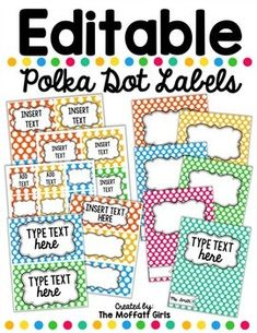 The Moffatt Girls: Editable Polka Dot Labels! Polka Dot Classroom, Classroom Labels, Classroom Organisation, Teacher Organization, Preschool Classroom, Future Classroom, Classroom Themes, Classroom Management, Kindergarten
