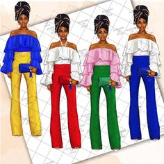 Black Girl Fashion, Fashion Art, Black Women Art, Black Art, Sorority Fashion, Sorority Girls, Aka Sorority, Delta Girl, Fashion Clipart