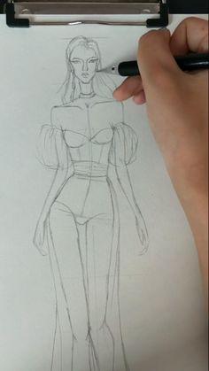 Fashion Drawing Tutorial, Fashion Figure Drawing, Fashion Illustration Tutorial, Fashion Model Drawing, Fashion Drawing Dresses, Fashion Illustration Dresses, Dress Design Drawing, Dress Drawing, Dress Design Sketches