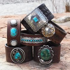 Leather Cuff Bracelet Silver and Brass by RocaJewelryDesigns