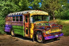 .hippie bus - so cool for parents and kids to do together - add book quotes and you have a perfect book mobile