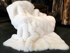 White Fox Fur Blanket