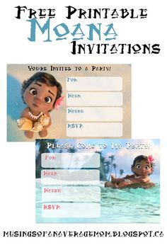 Free printable Moana party invitations