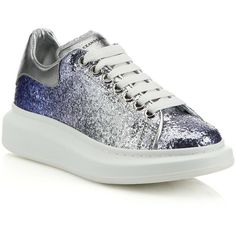 Alexander McQueen Glitter & Metallic Leather Platform Sneakers ($575) ❤ liked on Polyvore featuring shoes, sneakers, apparel & accessories, lacing sneakers, metallic sneakers, lace up sneakers, leather shoes and platform shoes
