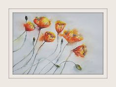 Californian Poppies 1 ARTIST LORNA PAULS A3 Watercolours on 200g ProArt Paper Done March 2017 Watercolour Art, Watercolours, A3, Poppies, Wildlife, March, Paper, Artist, Painting