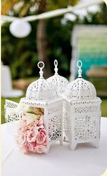 3 White Moroccan Lanterns Suspended by 3 Meter by SparkleSoiree, $45.00 - use for centerpieces!