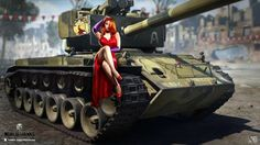 world of tanks t26e4 super pershing american middle tank city red sexy girl Canvas Wall Poster