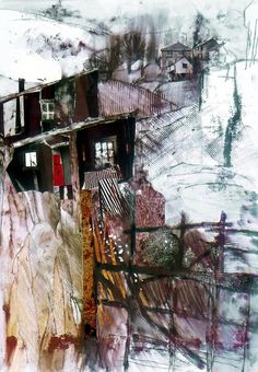 Small House in the Dales - Watercolour, Monoprint & Collage 59 x 42 cm Shirley Trevena