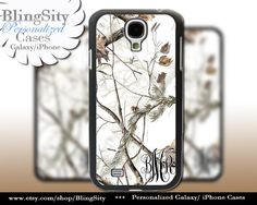 Snow Camo Monogram Galaxy S4 case S5 RealTree Camo White Deer Personalized Samsung Galaxy S3 Case Note 2 3 Cover Country Girl by BlingSity