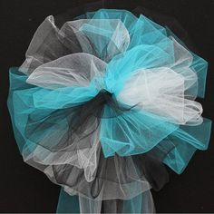 Turquoise Black White Tulle Wedding Pew Bows by PackagePerfectBows