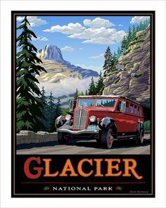 Canada National Parks, Yosemite National Park, Vintage Travel Posters, Poster Vintage, Visit Montana, Nature Posters, Ski Posters, Glacier Park, National Park Posters