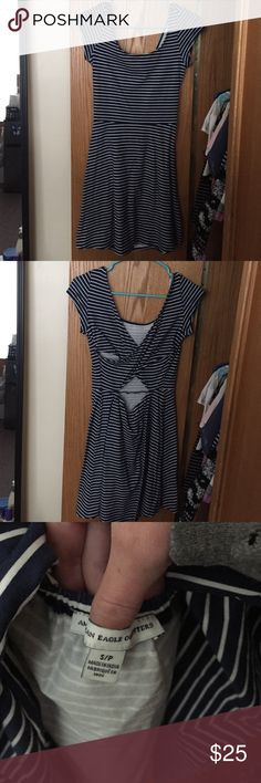 American Eagle Skater Dress Blue and white skater dress with adorable crossed back! American Eagle Outfitters Dresses