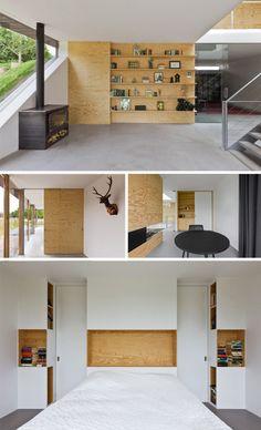 plywood interior accents//*nota C: 3° foto: 1 omgekeerde opening vooraan in expeditkast