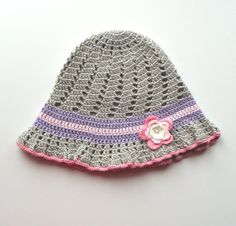 This is adorable! Crochet summer hat crochet baby hat grey summer girls by Tuttolv, $18.00