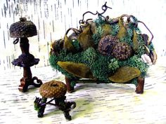Fairy sofa foot stool and floor lamp Fairy Tree Houses, Fairy Garden Houses, Fairy Village, Fairies Garden, Fairy Dust, Fairy Land, Fairy Tales, Fairy Garden Furniture, Fairy Crafts