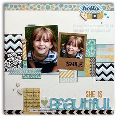 She Is Beautiful. Scrapbook Layout. Papercraft.