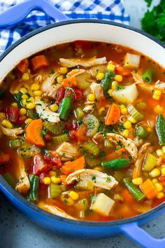 This chicken vegetable soup is full of shredded chicken, vegetables and potatoes. This chicken vegetable soup is full of shredded chicken, vegetables and potatoes, all in a savory tomato broth. An easy and healthy dinner option that. Best Chicken Soup Recipe, Chicken Recipes, Chicken Soups, Chicken Vegetable Soup Crockpot, Veggie Soup Recipe, Chicken Tomato Soup, Healthy Chicken Soup, Chicken Potatoes, Potato Recipes