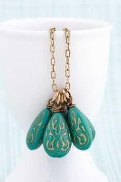Turquoise Necklace, Gold Etched Vintage Beads
