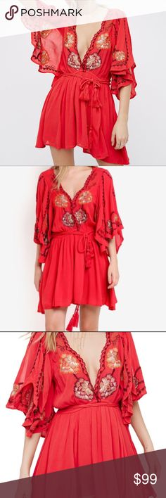 """NWT FREE PEOPLE CORA EMBROIDERED MINIDRESS Details From free-spirited festivals to poolside parties, this leg-flaunting minidress keeps you boho-breezy with a plunging neckline, fluttery sleeves and tie-cinched waist. - Plunging V-neck - Split 3/4 sleeves - Tie waist - Partially lined - Approx. 32"""" length (size M) - Imported Fiber Content 100% viscose Care Machine Wash Cold Additional Info Fit: this style fits true to size. Free People Dresses Mini"""