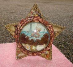 1800s Sailors Valentine Victorian Shell Art Bubble Glass STAR shape frame