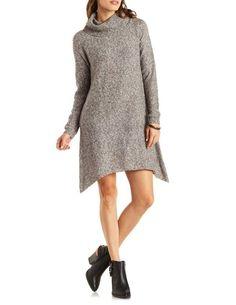 Assymetrical Full Sleeve Sweater Dress