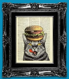 Kitchen Wall Decor, Kitchen art print, Kitchen wall art, Cat Retro art, dictionary book page print, dictionary book page art - Hamburger Cat. $10.00, via Etsy.