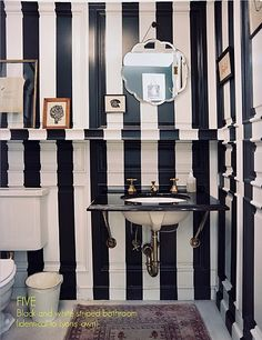 I think one of my rooms in my house will have to be striped. I'm not sure whether I would have chosen a room that had moldings all over the wall but I suppose it kind of breaks up the stripe a bit.