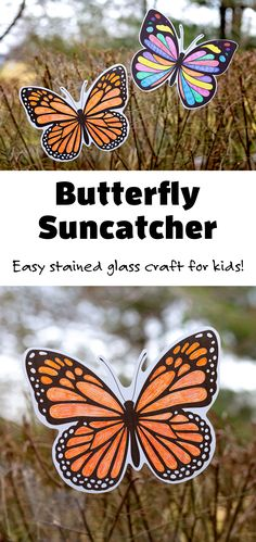 Use colored pencils, crayons, or markers to color in these beautiful butterfly suncatchers! #butterflysuncatcher #butterflytemplate #monarchbutterflycraft #stainedglasscraft Arts And Crafts For Kids Toddlers, Creative Activities For Kids, Crafts For Kids To Make, Kids Crafts, Kid Activities, Butterfly Cutout, Butterfly Crafts, Insect Crafts, Butterfly Coloring Page