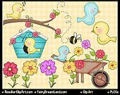 Birds & Flowers Clip Art - Commercial Use Graphic Image Png Digital Clipart Set - Instant Download - Spring Garden Blue Bird House Bee Tree