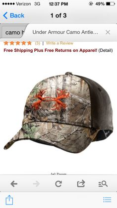 2b8e3712c00 Show off your passion for the outdoors with this soft lightweight  adjustable Camouflage cap from Under Armour. Embellished with the Antler  logo that you ...