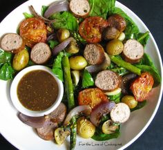 Sausage and Potatoes (serves 4: 4 garlic and herb chicken sausages ...