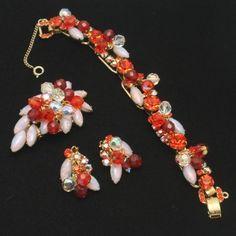 Juliana D Parure Set Bracelet Brooch Pin Earrings Vintage Parure  yoyolz (seller) ebay.com $449.99
