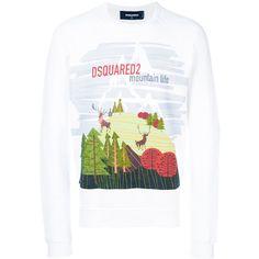 Dsquared2 mountain life print sweatshirt (5.922.950 IDR) ❤ liked on Polyvore featuring men's fashion, men's clothing, men's hoodies, men's sweatshirts, white and mens white sweatshirt
