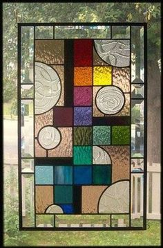 Spherical Frenzy Stained Glass Window Panel