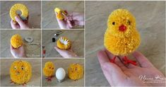 How to make adorable Pom Pom Easter chicks - Easter Day DIY your Christmas gifts this year with GLAMULET. they are compatible with Pandora bracelets. How to Make Adorable Pom-Pom Easter Chicks Learn how to make pom pom Easter bunnies. Pom Pom Crafts, Yarn Crafts, Paper Crafts, Pom Pom Diy, Cardboard Crafts, Crochet Crafts, Crochet Ideas, Wood Crafts, Cute Crafts