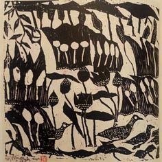 illustration, xylogravure japonaise : Shiko Munakata, 1950s, Mingei, oiseaux et plantes