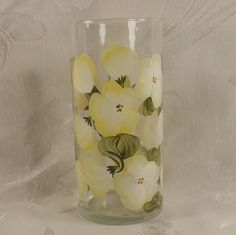 Hand Painted Vase or Candle Holder  Golden Yellow by EverMyHart, $19.95