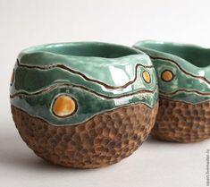 """Купить Комплект пиал """"Апельсиновое дерево"""" - зеленый, пиала ручной работы, керамика ручной работы"""