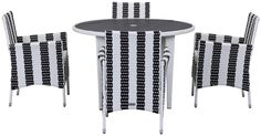 Cooley 5 Pc Outdoor Set Black / White