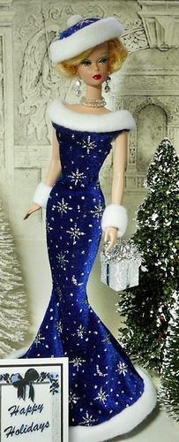 Costumes, Blonde Silkstone Blue gowned Barbie for the holiday - Pinned Barbie Gowns, Barbie Dress, Barbie Clothes, Barbie I, Barbie And Ken, Pretty Dolls, Beautiful Dolls, Christmas Barbie, Blue Christmas