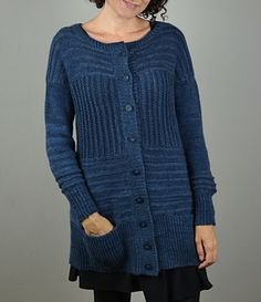 Changing Currents Cardigan by Nancy Eiseman | Worsted wt. | Fun construction!